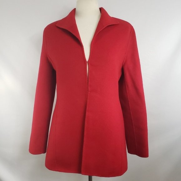 Valerie Stevens Jackets & Blazers - Valerie Stevens Red Wool Angora Cashmere Blazer
